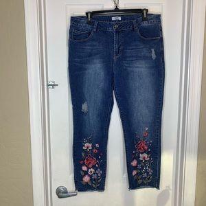 Kenzie High Rise Distressed Floral Appliqué Jeans